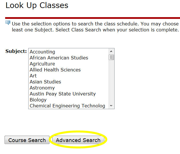 search for classes current step 6