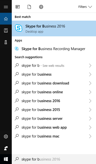 skype for business pc step 1