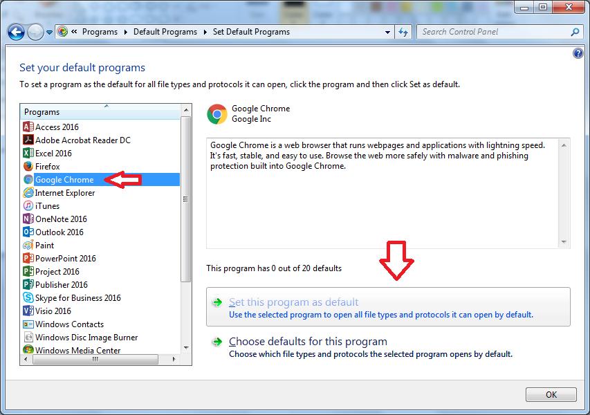 default browser windows 7 step 3