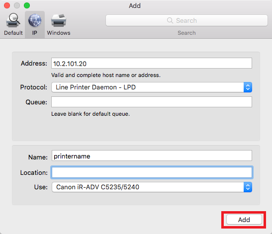 network printers mac step 16