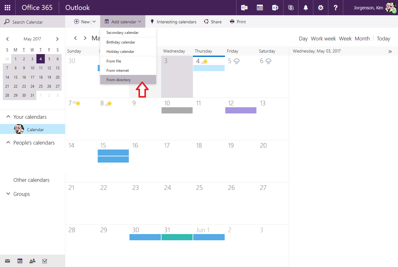 opening shared calendars owa step 3