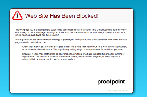 proofpoint blocked link