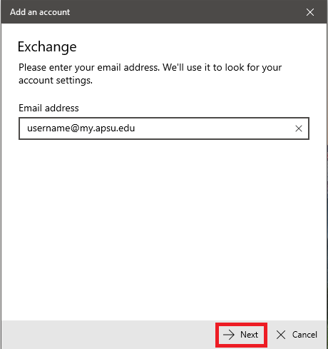 student email windows 10 step 3
