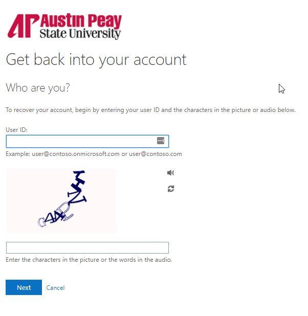 azure password reset step 1