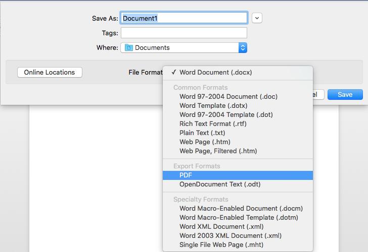 convert word to pdf on mac step 2
