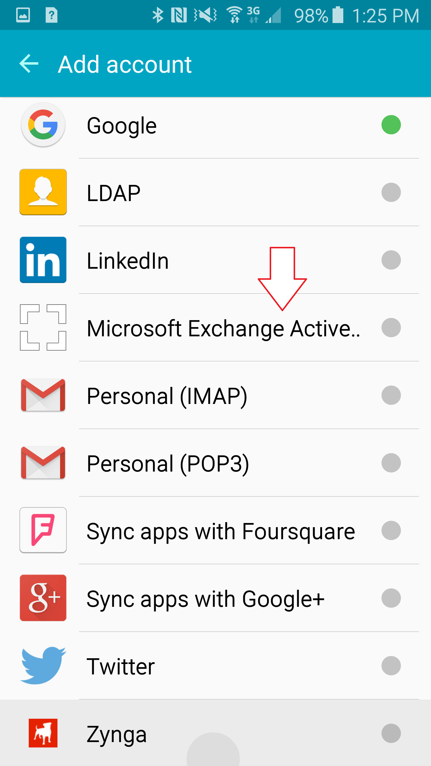 faculty/staff email android step 4