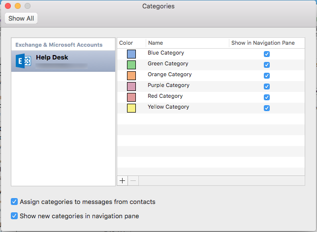 outlook categories mac step 2