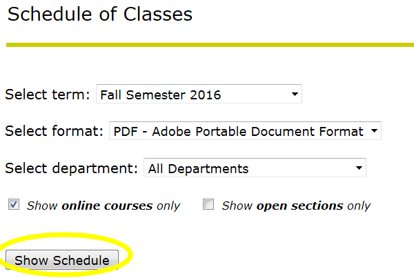 search for classes prospective step 4