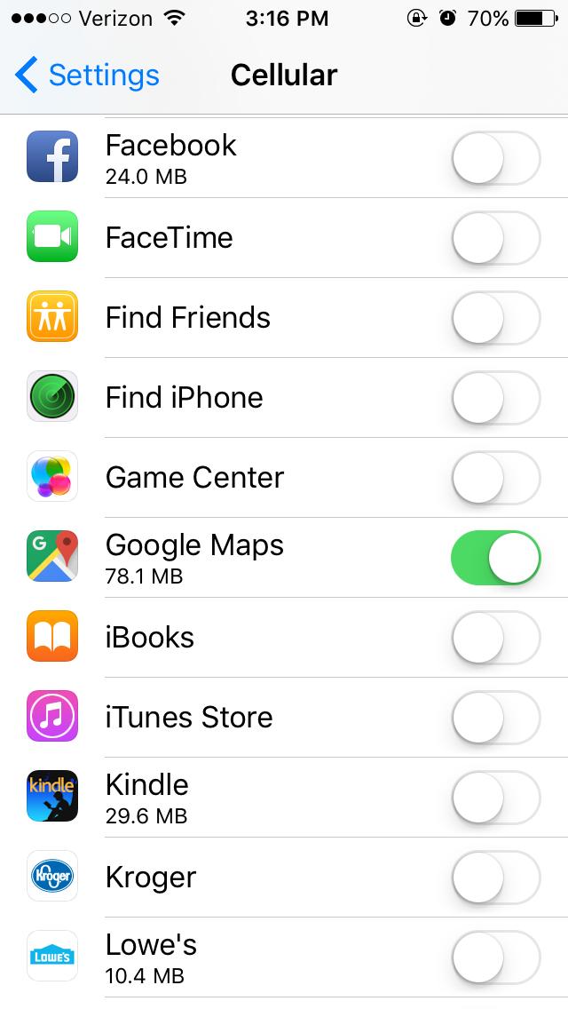 restrict data usage iphone step 2