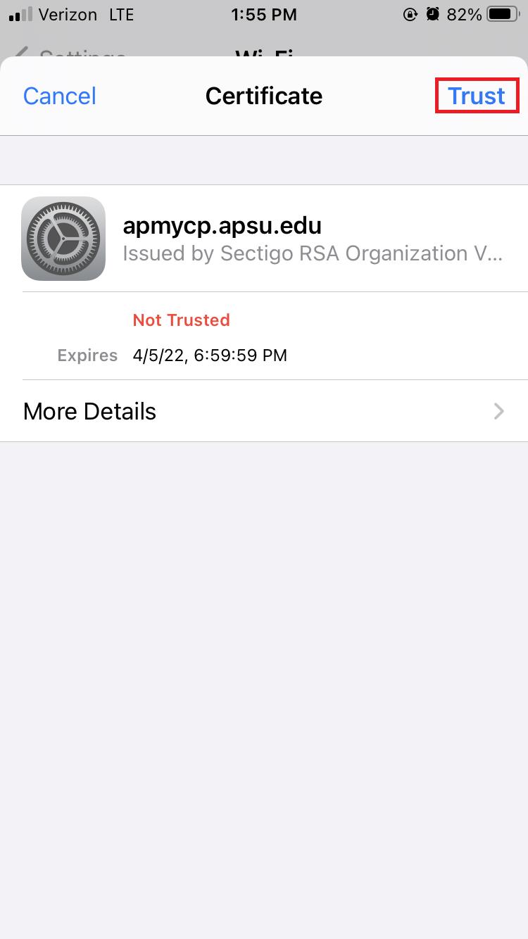 APSU wireless iOS step 5