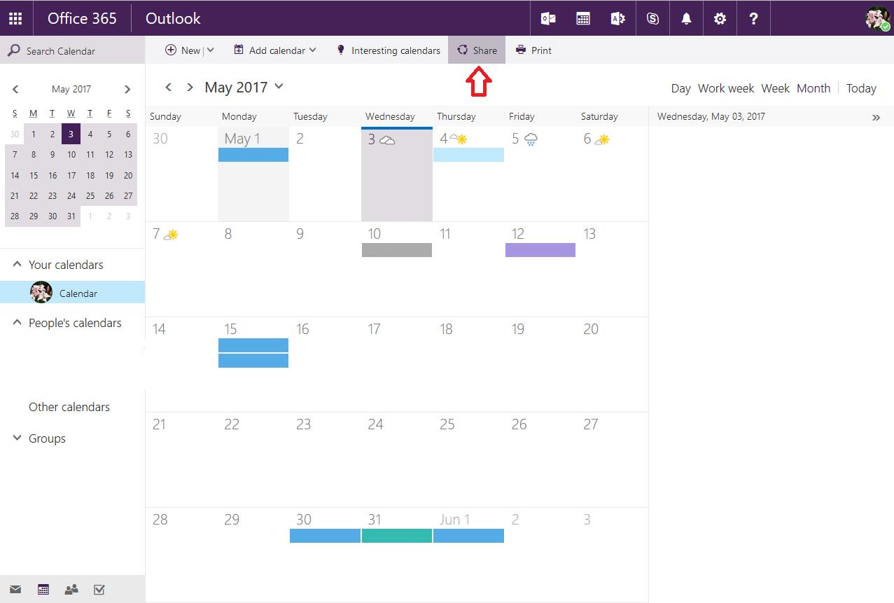 shared calendars owa step 3