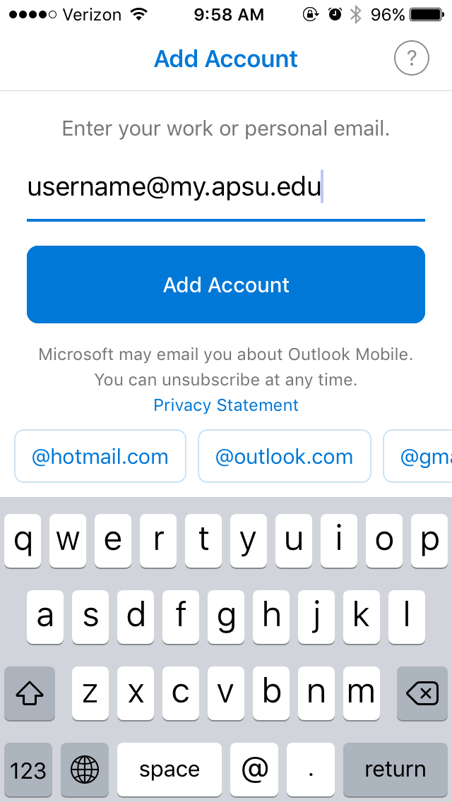 student email outlook app step 3